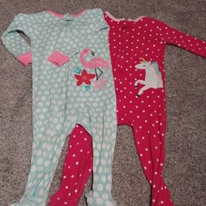 Pair of baby girl footed pajamas